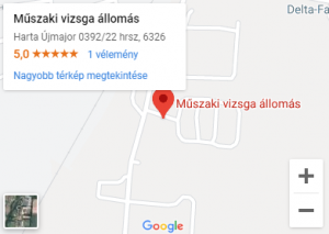 Műszaki vizsga állomás térkép